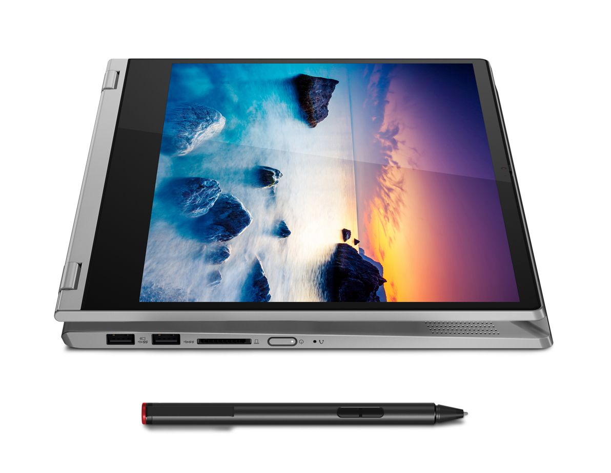 The Lenovo IdeaPad Flex 14 in tablet mode with optional stylus.