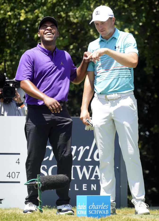 PGA Tour golfer Harold Varner III (left) and his playing partner Jordan Spieth joke around on the ninth tee box as they waiting to tee off during the third round of the Charles Schwab Challenge at the Colonial Country Club in Fort Worth, Saturday, June 13, 2020.  Jordan is tied for second and Varner is tied for 7th. The Challenge is the first tour event since the COVID-19 pandemic began. (Tom Fox/The Dallas Morning News)