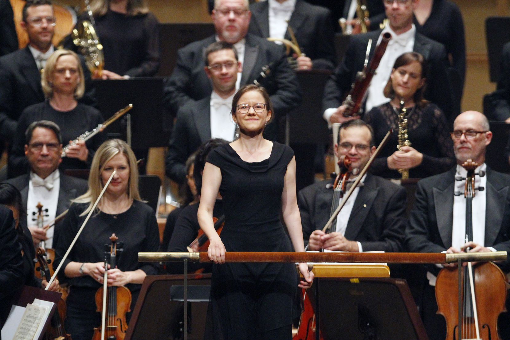 Conductor Katharina Wincor reacts with a smile as she's introduced to conduct the Dallas Symphony Orchestra during a debut at the Meyerson Symphony Center 30th Anniversary Concert, Wednesday, Sept. 04, 2019 at the Morton H. Meyerson Symphony Center.