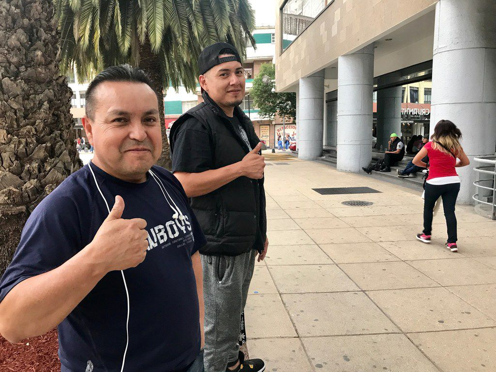 Juan Guevara from Dallas and his friend Jorge Nino from California in front of Monument to the Revolution on April 23, 2018, in Mexico City. Both were repatriated to Mexico and now trying to find ways to fit into a country they know little about.