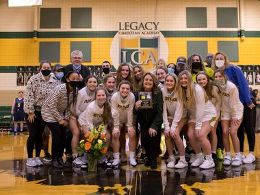 Longtime Plano coach Lynn Meger, in her first season with Frisco Legacy Christian Academy, celebrates surpassing 500 career wins on Jan. 29, 2021. (Photo courtesy of Wendy Ellis/Frisco Legacy Christian)