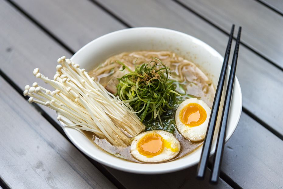 Most of the items on Ivan Ramen's delivery and pickup ghost kitchen menu in Dallas and Fort Worth are bowls of ramen, like this one. Other options include steamed pork buns, spicy kyuri pickles, Japanese beer and sake.