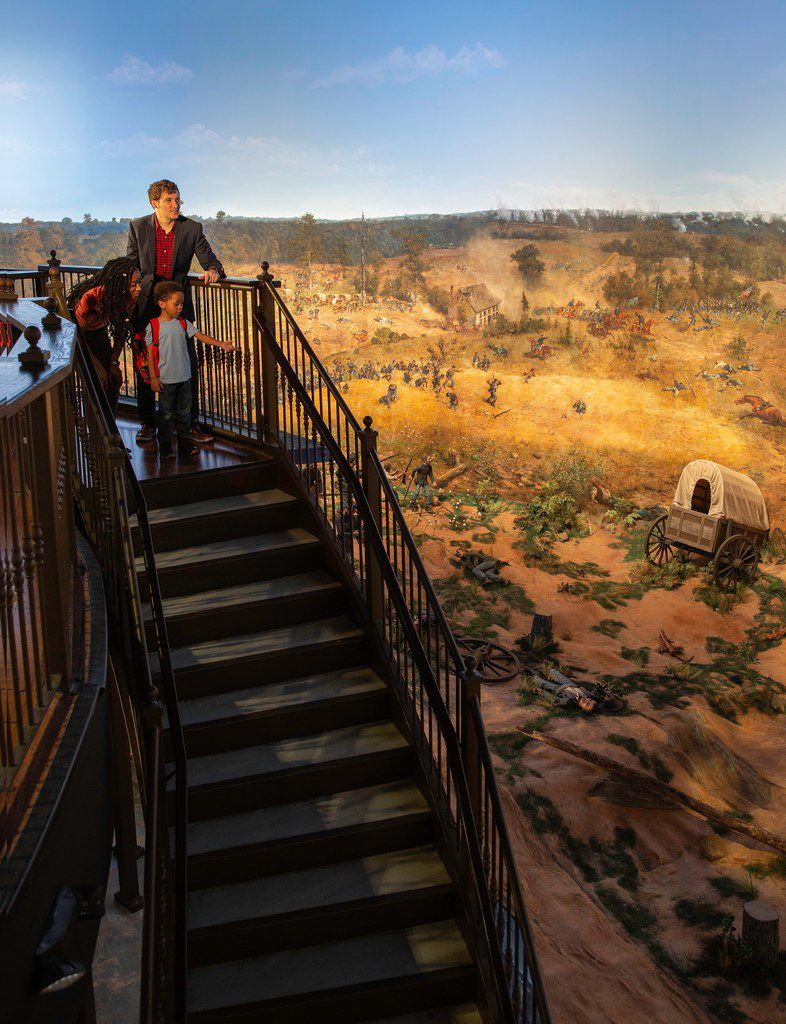 Standing 49 feet tall and longer than a football field, the 132-year-old Cyclorama painting vividly depicts the 1864 Battle of Atlanta. Visitors can get a 360-degree perspective of it from a 15-foot-tall viewing platform.
