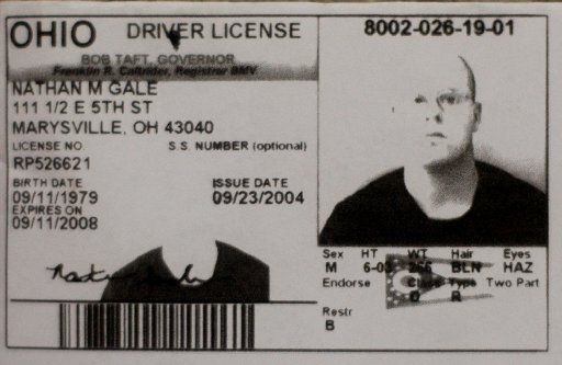 A tattoo studio he had frequented released this photocopy of Nathan Gale's drivers license.