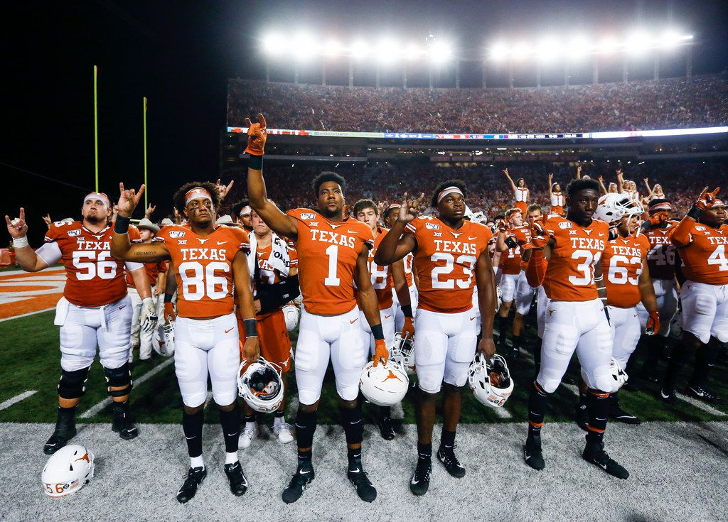 The Texas Longhorns participate in The Stars of Texas following their loss to LSU on Saturday, Sept. 7, 2019 at Darrell Royal Memorial Stadium in Austin, Texas.