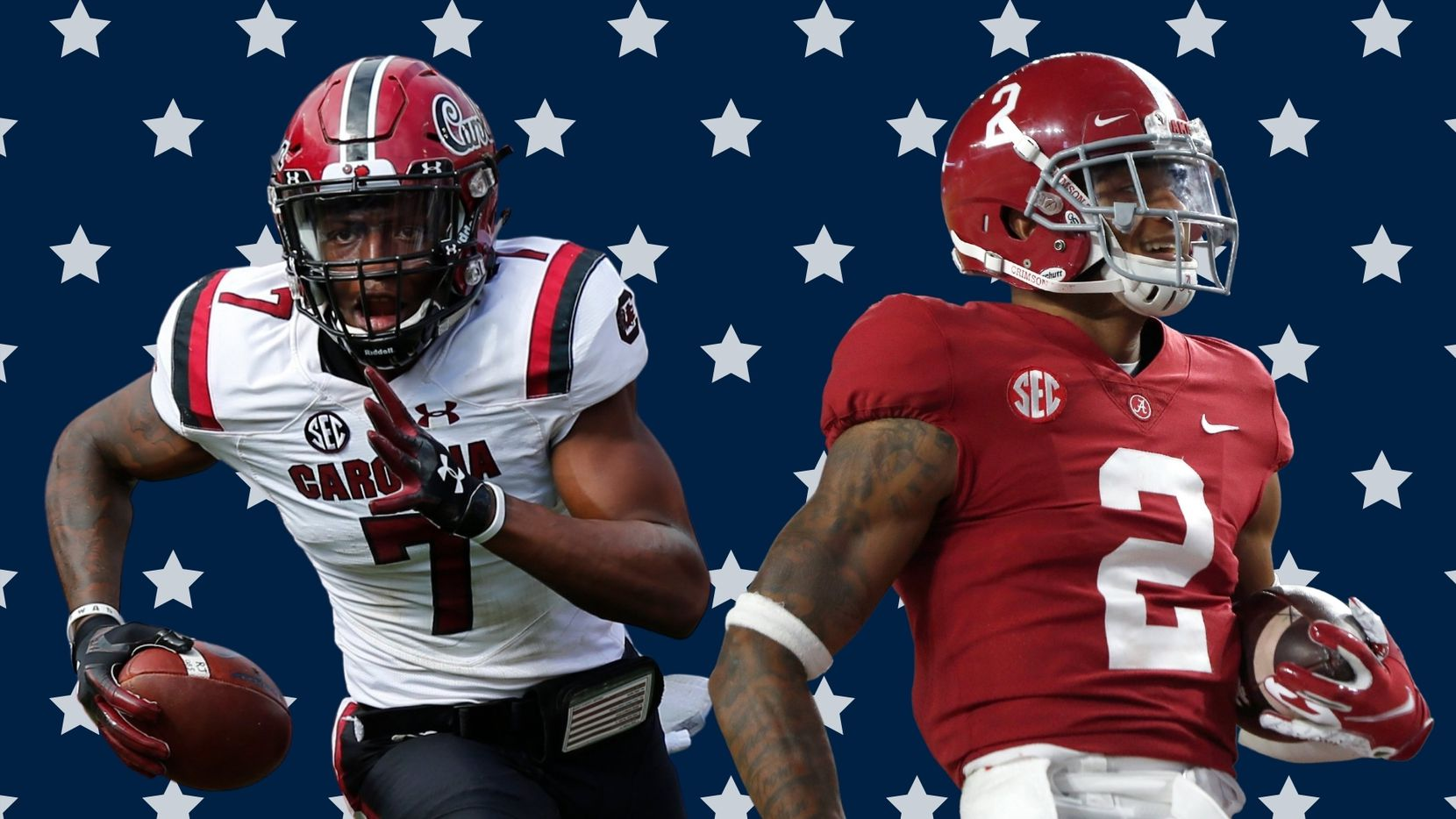 Both Jaycee Horn (left) and Patrick Surtain II (right) are elite cornerback talents with NFL bloodlines who dominated the competition in college football's toughest conference (SEC). So, if both are available, who should the Cowboys choose with the 10th overall pick? (Photos via Getty Images/ Edit by SportsDay)