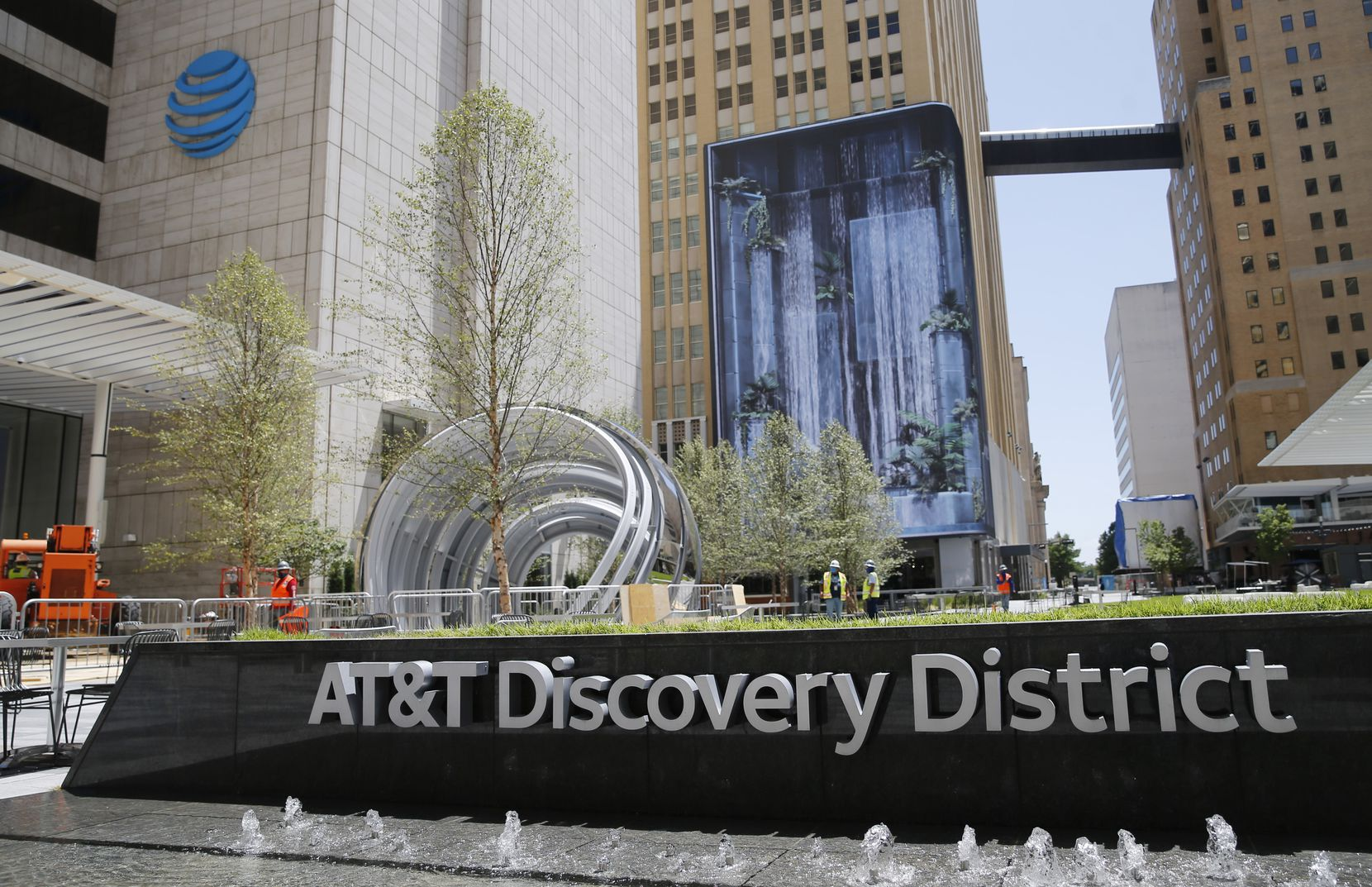 AT&T Discovery District, an outdoor space that includes a 104-foot-tall media wall in downtown Dallas on Monday, August 10, 2020. (Vernon Bryant/The Dallas Morning News)