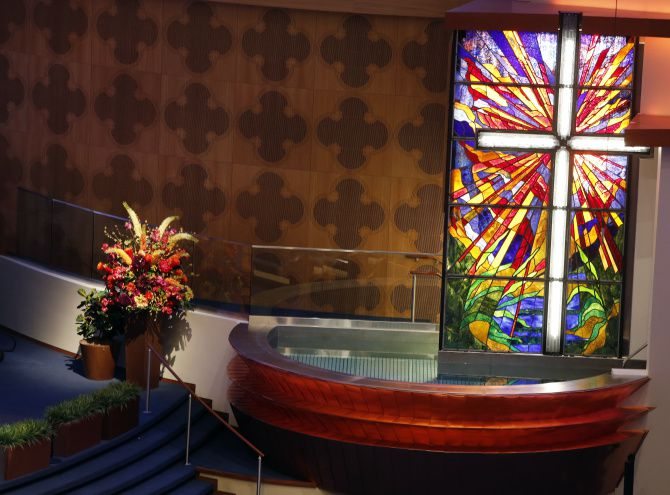 The new Baptismal located in the sanctuary in the Worship Center of the First Baptist Church in downtown Dallas.
