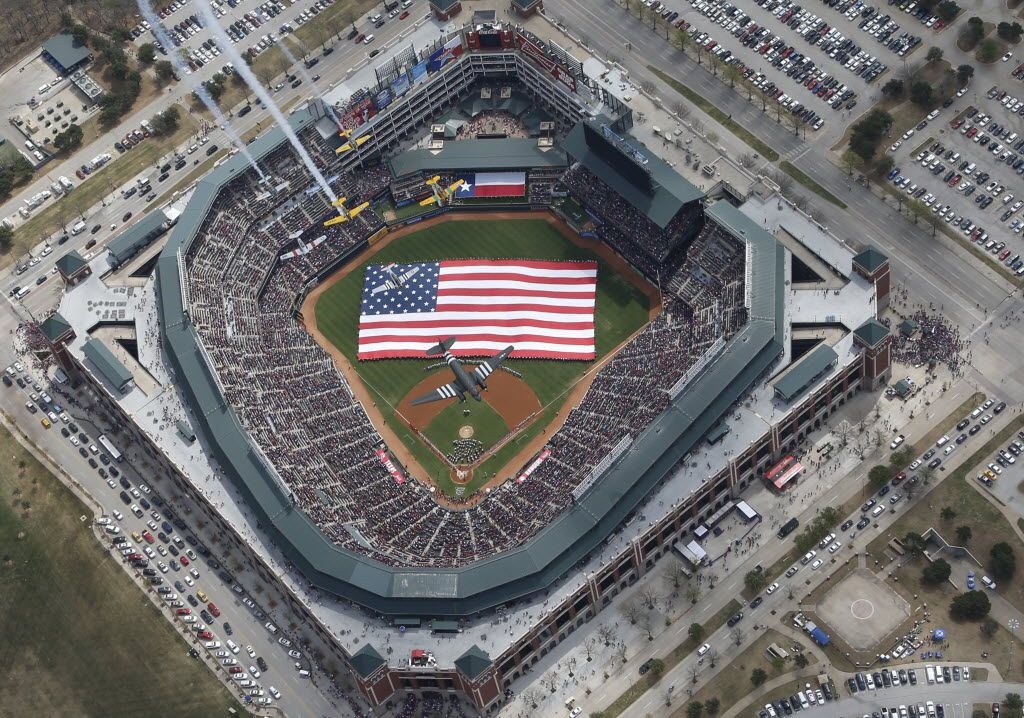 A look at the Globe Life Park as the Warbirds from Cavanaugh Flight Museum fly overhead during pre-game ceremonies on opening day before a game against the Philadelphia Phillies in 2014. Globe Life Park will be replaced by a $1 billion, retractable-roof stadium in time for the 2020 season.