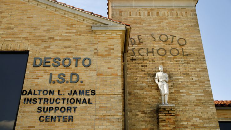 An exterior view of the DeSoto Independent School District headquarters in DeSoto, Texas, Wednesday, June 24, 2020.