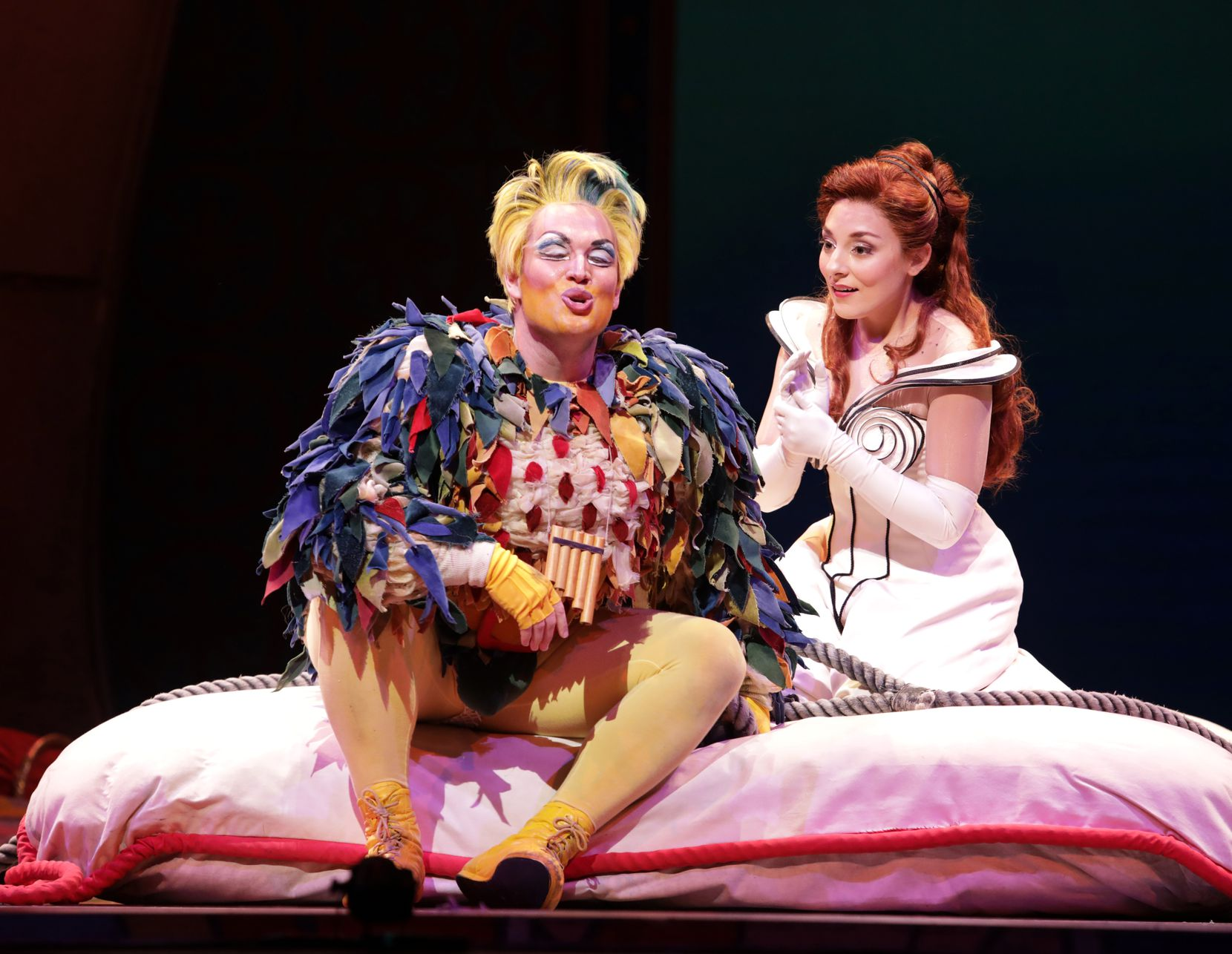 Papageno, played by Sean Michael Plumb (left) and Pamina, played by Andrea Carroll, perform during a dress rehearsal of 'The Magic Flute' at Winspear Opera House in Dallas on Oct. 15, 2019.