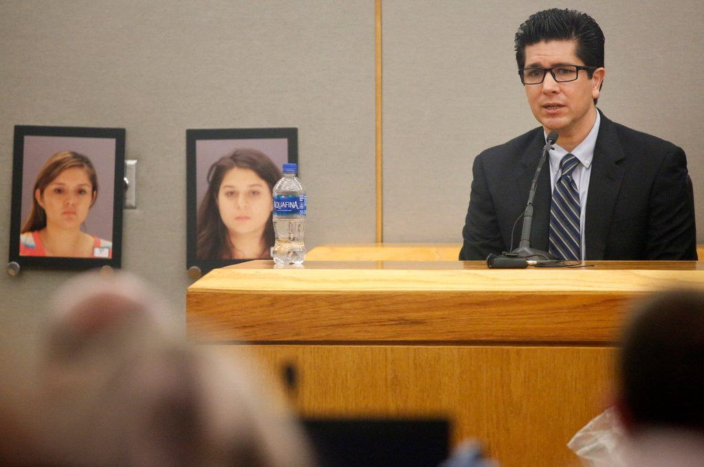 Kendra Hatcher's ex-boyfriend Ricardo Paniagua testifies on the stand during the murder trial for Brenda Delgado in the 363rd Judicial District Court at the Frank Crowley Courthouse in Dallas, Monday, June 3, 2019. Photos of Delgado (left) and getaway driver Crystal Cortes are pictured near the stand. Delgado is accused of hiring Crystal Cortes and Kristopher Love in a murder-for-hire plot to kill Kendra Hatcher, an Uptown dentist.  (Tom Fox/The Dallas Morning News)