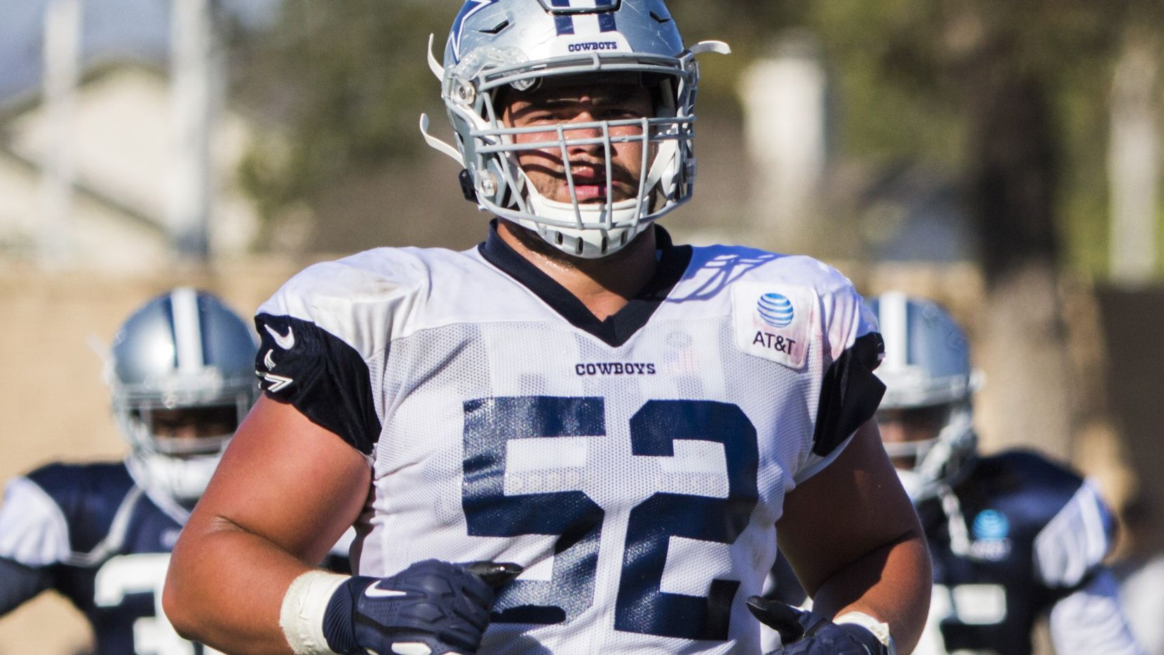 Dallas Cowboys offensive guard Connor Williams (52) runs during an afternoon practice at training camp in Oxnard, California on Thursday, August 1, 2019. (Ashley Landis/The Dallas Morning News)