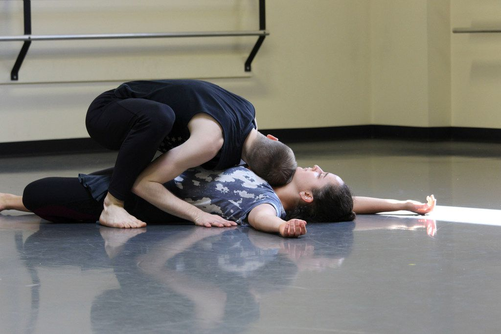 Lena Oren and Nicholas Heffelfinger rehearse Dark Circles Contemporary Dance's Yellow. The new work by artistic director Joshua L. Peugh is inspired by the brightly colored leaves and odorous fruit of the ginkgo tree.