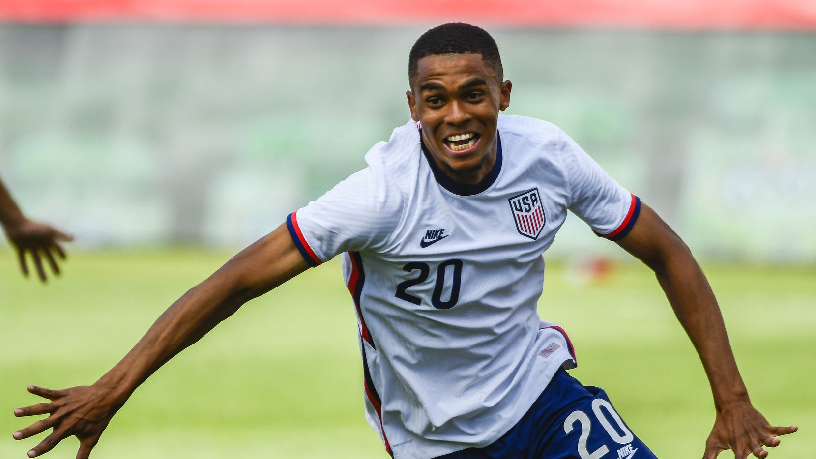 Reggie Cannon #20 of the United States celebrates a goal during a game against Costa Rica at Rio Tinto Stadium on June 09, 2021 in Sandy, Utah.