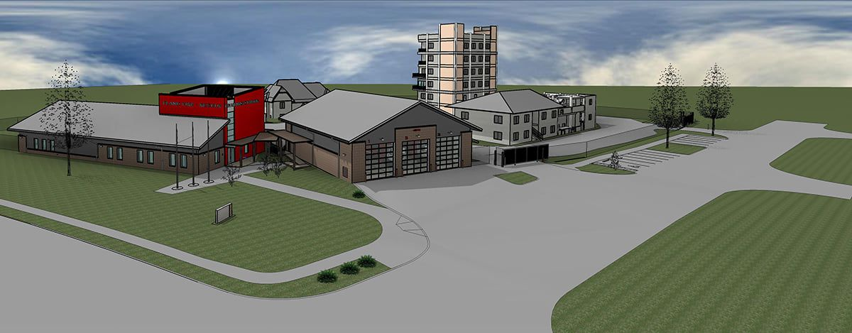 An artist's rendition shows the new Plano Fire Training Center that is currently under construction at McDermott and Robinson roads.