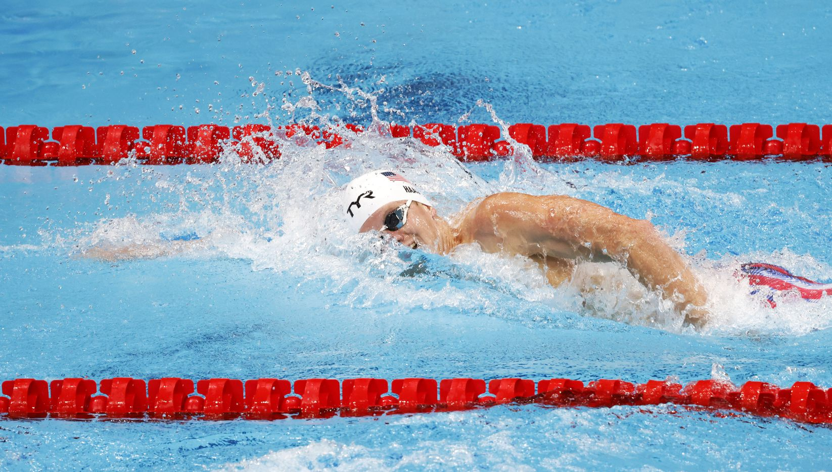 USA's Townley Haas competes in the men's 200 meter freestyle at a swim qualifying event during the postponed 2020 Tokyo Olympics at Tokyo Aquatics Centre on Sunday, July 25, 2021, in Tokyo, Japan. Haas finished with a time of 1:45.86. (Vernon Bryant/The Dallas Morning News)