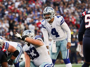 Dallas Cowboys quarterback Dak Prescott (4) during the first half of an NFL game against the New England Patriots on Sunday, Oct. 17, 2021, at Gillette Stadium in Foxborough, Mass.