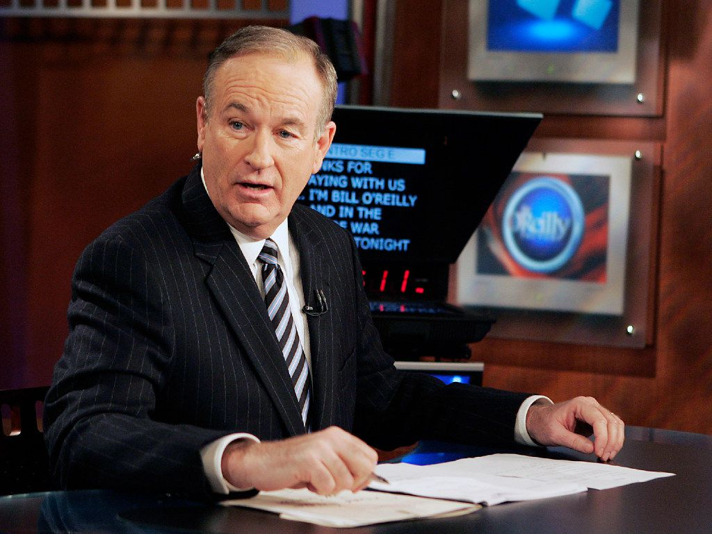 """FILE - In this Jan. 18, 2007 file photo, Fox News commentator Bill O'Reilly appears on the Fox News show, """"The O'Reilly Factor,"""" in New York. O'Reilly has lost his job at Fox News Channel following reports that several women had been paid millions of dollars to keep quiet about harassment allegations. (AP Photo/Jeff Christensen, File)"""