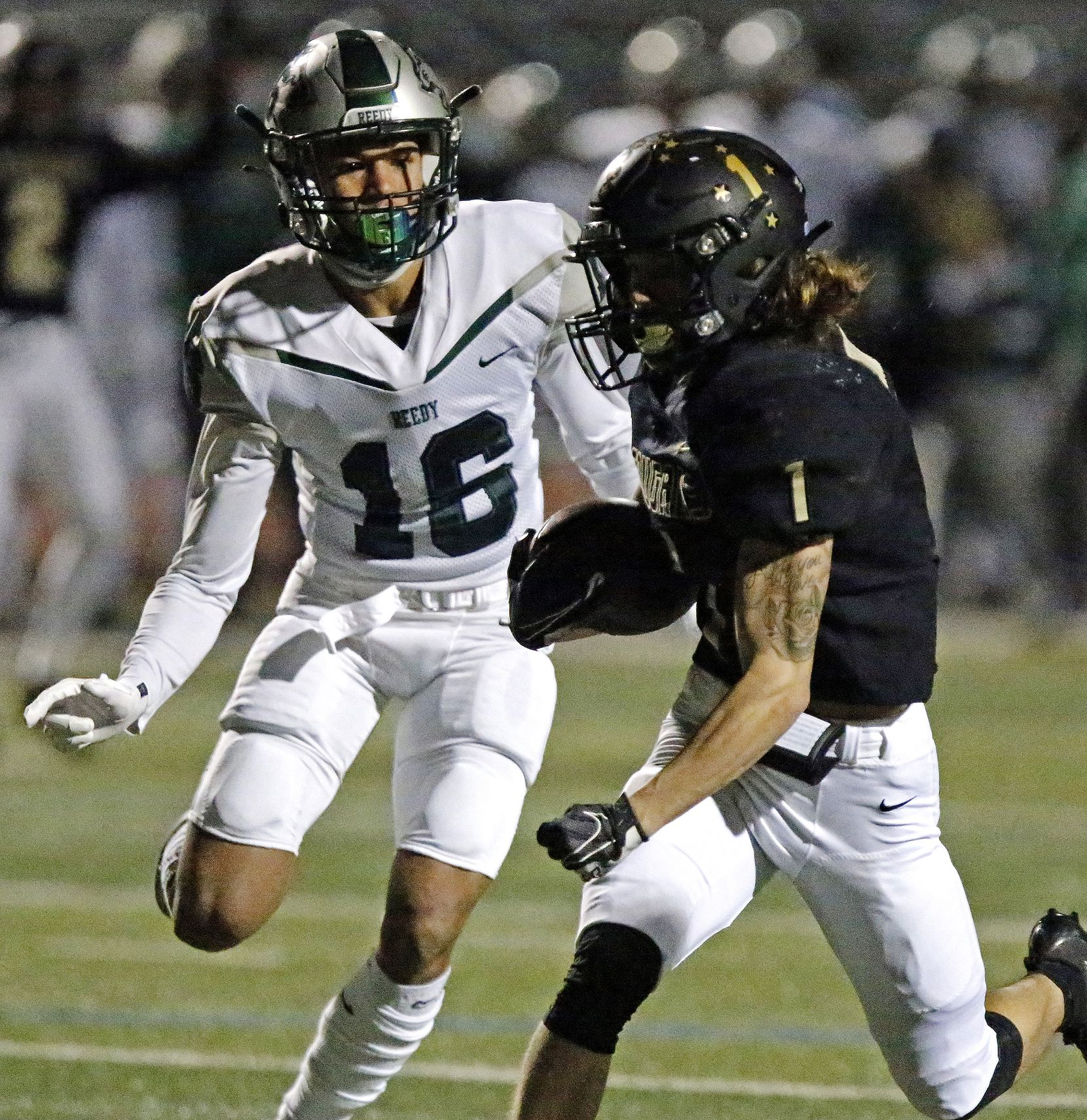 The Colony High School wide receiver Benji Nelson (1) out runs Reedy High School defensive back Jaylen Fuksa (16) during the first half as The Colony High School hosted Frisco Reedy High School at Tommy Briggs Stadium on Friday night, December 4, 2020.  (Stewart F. House/Special Contributor)