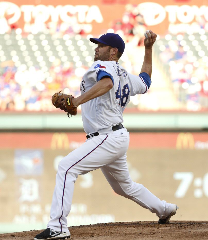 Texas Rangers starting pitcher Colby Lewis (48) throws against the Houston Astros in the first inning at Globe Life Park in Arlington, Texas, Monday, June 6, 2016. (Rose Baca/The Dallas Morning News)