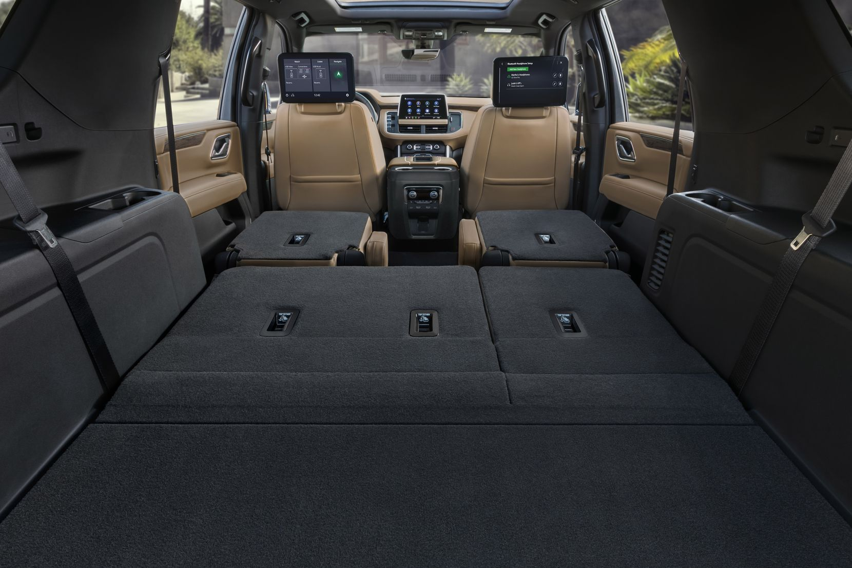2021 Chevrolet Suburban with all seats folded down for maximum cargo capacity.