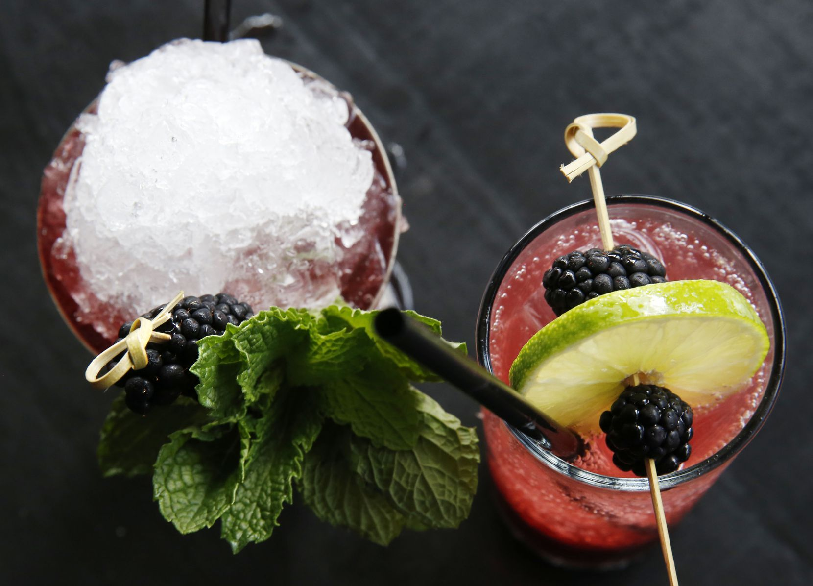 The Blackbird Julep and the Blackberry Shrub Cooler, photographed at The Standard Pour in Dallas in 2016