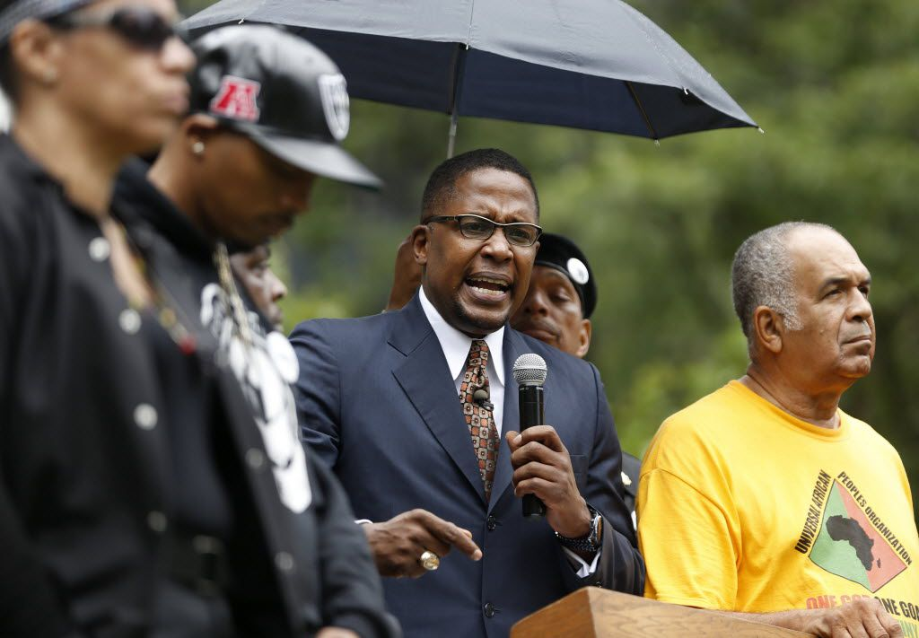 Malik Zulu Shabazz speaks during a black unity protest starting in Perk Plaza in Cleveland, Ohio on Saturday, July 16, 2016. The protest is 2 days prior to the start of the Republican National Convention. (Vernon Bryant/The Dallas Morning News)