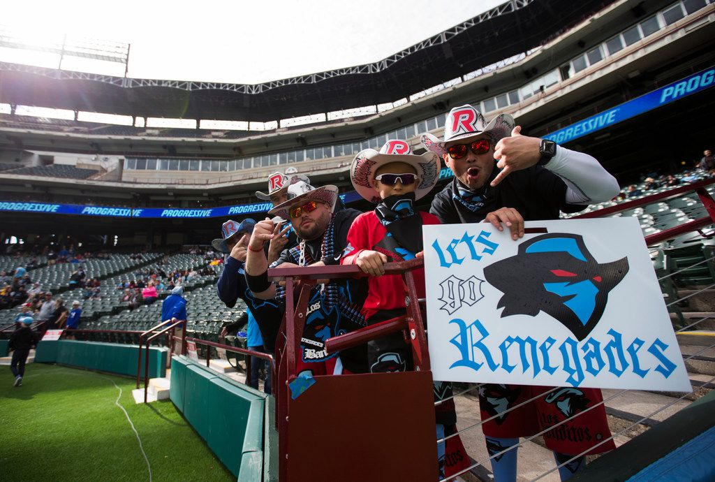 Dallas Renegades fans cheer as the team warms up before an XFL game between the Dallas Renegades and the New York Guardians on Saturday, March 7, 2020 at Globe Life Park in Arlington. (Ashley Landis/The Dallas Morning News)