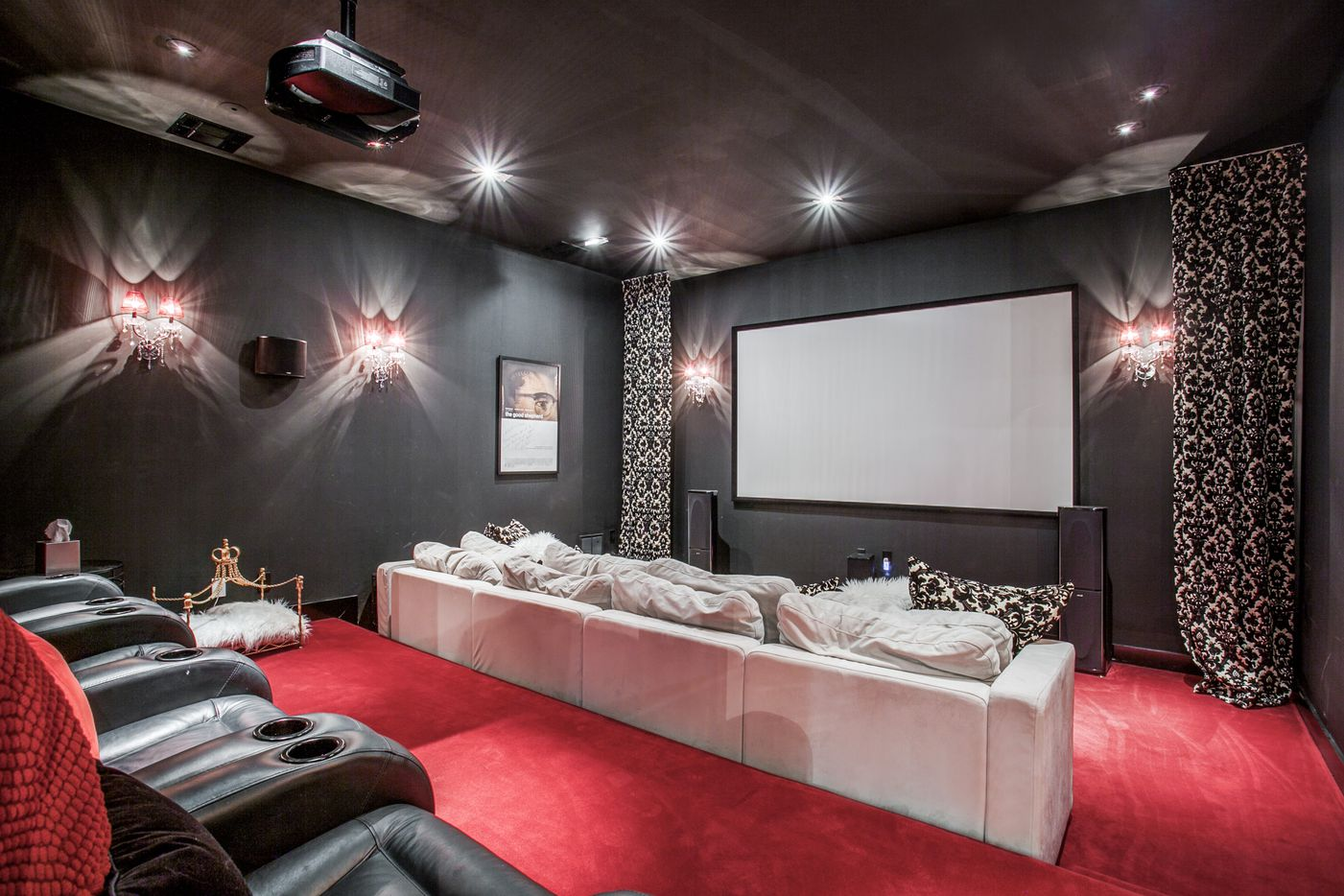 A look at the basement movie theater of the Dallas home Kameron Westcott is selling.