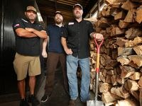 Wes Hutchins, left, Tim Hutchins, and Trey Hutchins photographed at Hutchins BBQ in McKinney, TX, on Sep. 18, 2020. (Jason Janik/Special Contributor)