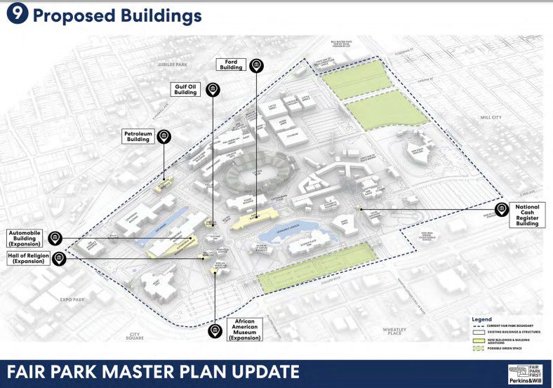 The historic buildings that could one day be rebuilt, according to the new master plan