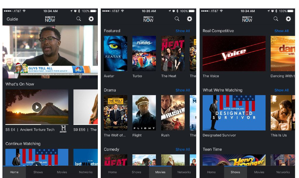 DirecTV Now has multiple tiers with bundles of channels. The service requires no contract commitment, so you're free to sign up and leave as you like. And anyone who's interested can sign up for a seven-day free trial.