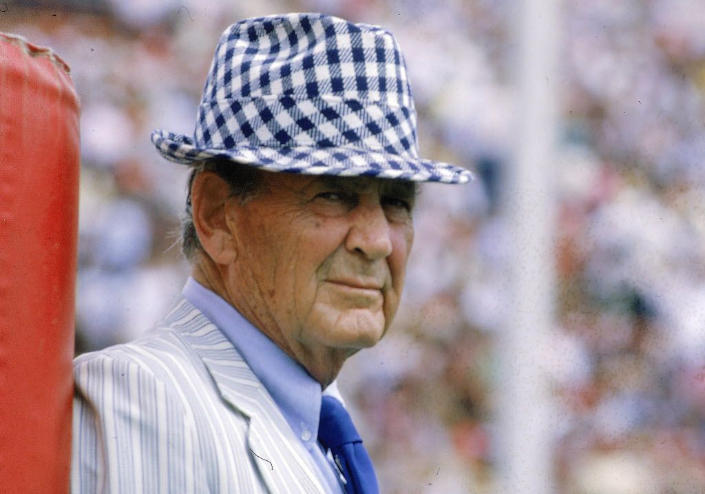 "PAUL ""BEAR"" BRYANT / Texas A&M head coach 1954-57 / Record at A&M: 25-14-2 / 1956 Southwest Conference title / Before his illustrious career at Alabama, Bryant led the Aggies to a 1956 conference title and undefeated season (9-0-1). He also coached John David Crow to the Heisman, his only winner during his storied career. The 2002 movie ""Junction Boys"" retells the story of his first team's infamous summer camp at A&M."