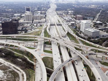 Intersection of LBJ Freeway (Interstate 635 and Central Expressway (US 75) at the High Five Interchange in Dallas on Friday, February 15, 2019. (Staff Photo)