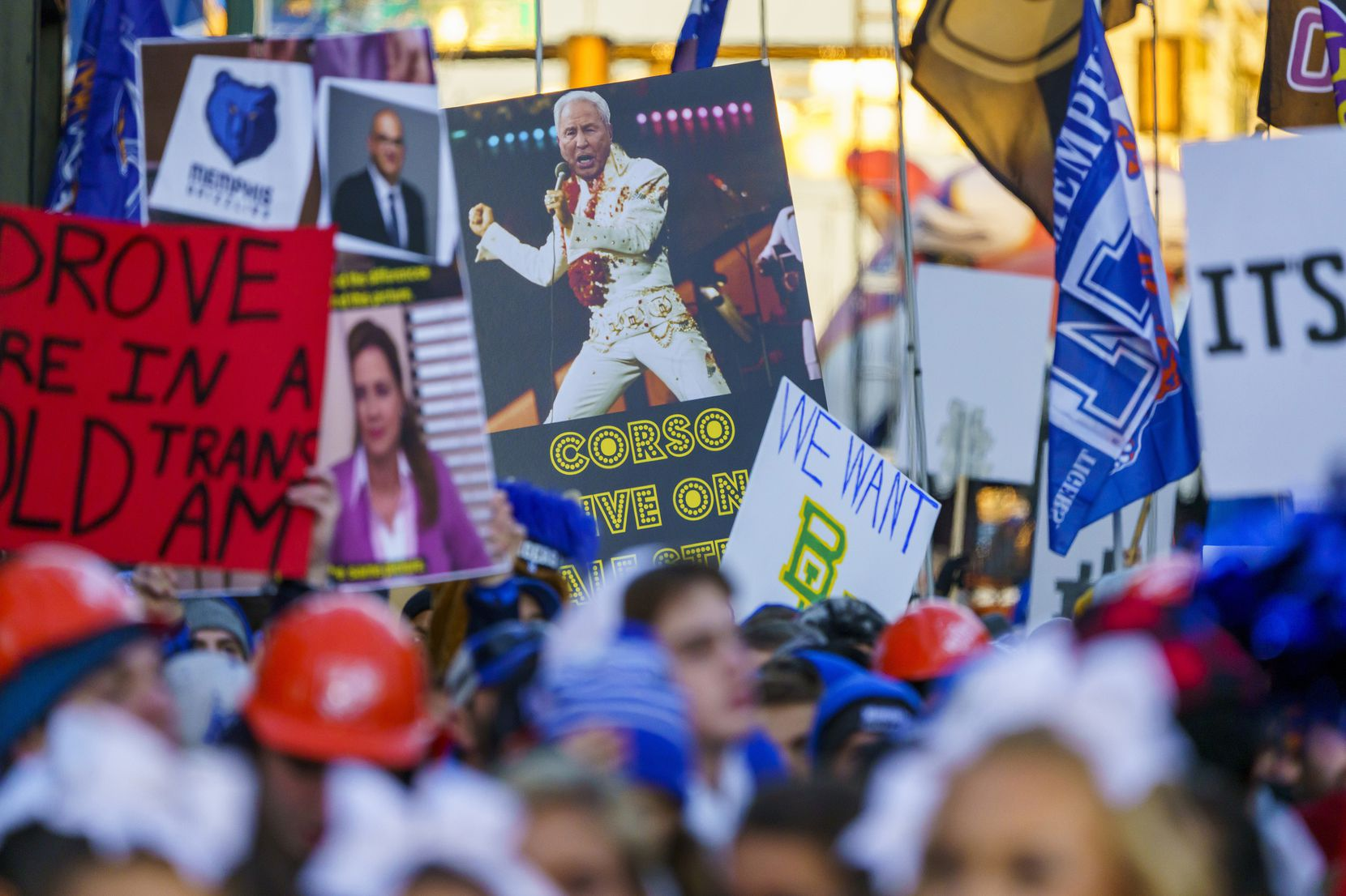 Signs fill Beale Street during ESPN College GameDay before an NCAA football game between Memphis and SMU on Saturday, Nov. 2, 2019, in Memphis, Tenn.