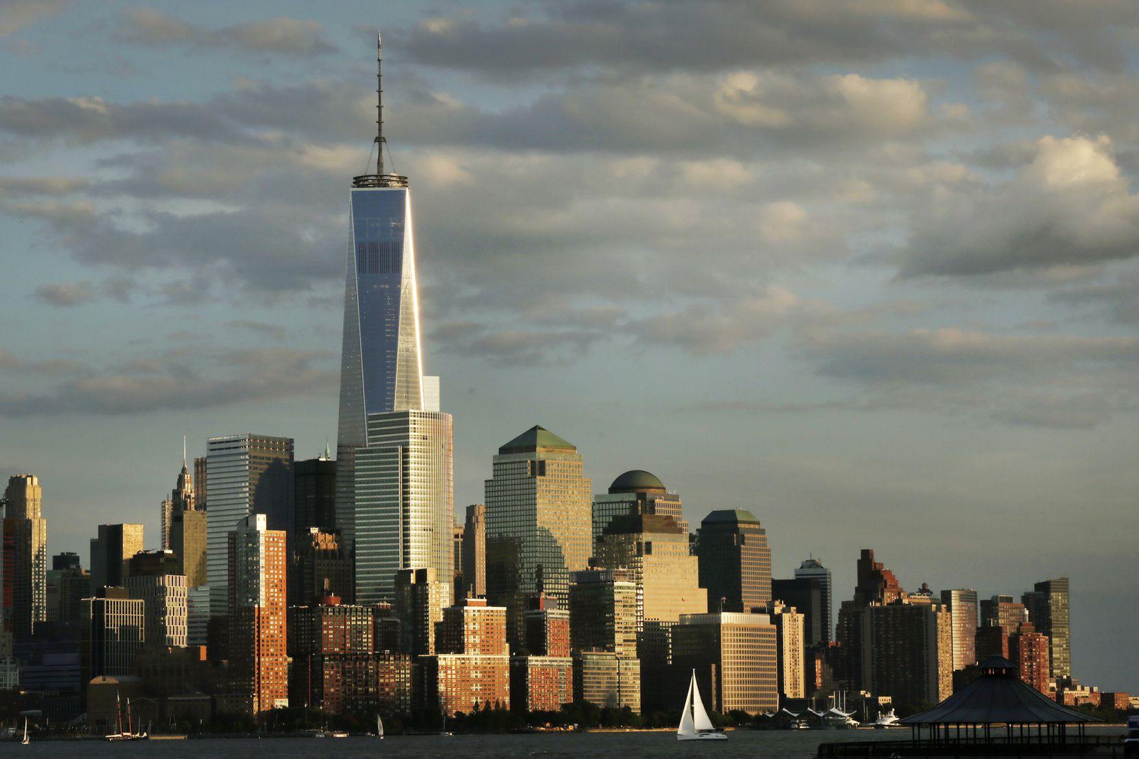 1 World Trade Center towers above the lower Manhattan skyline in New York.