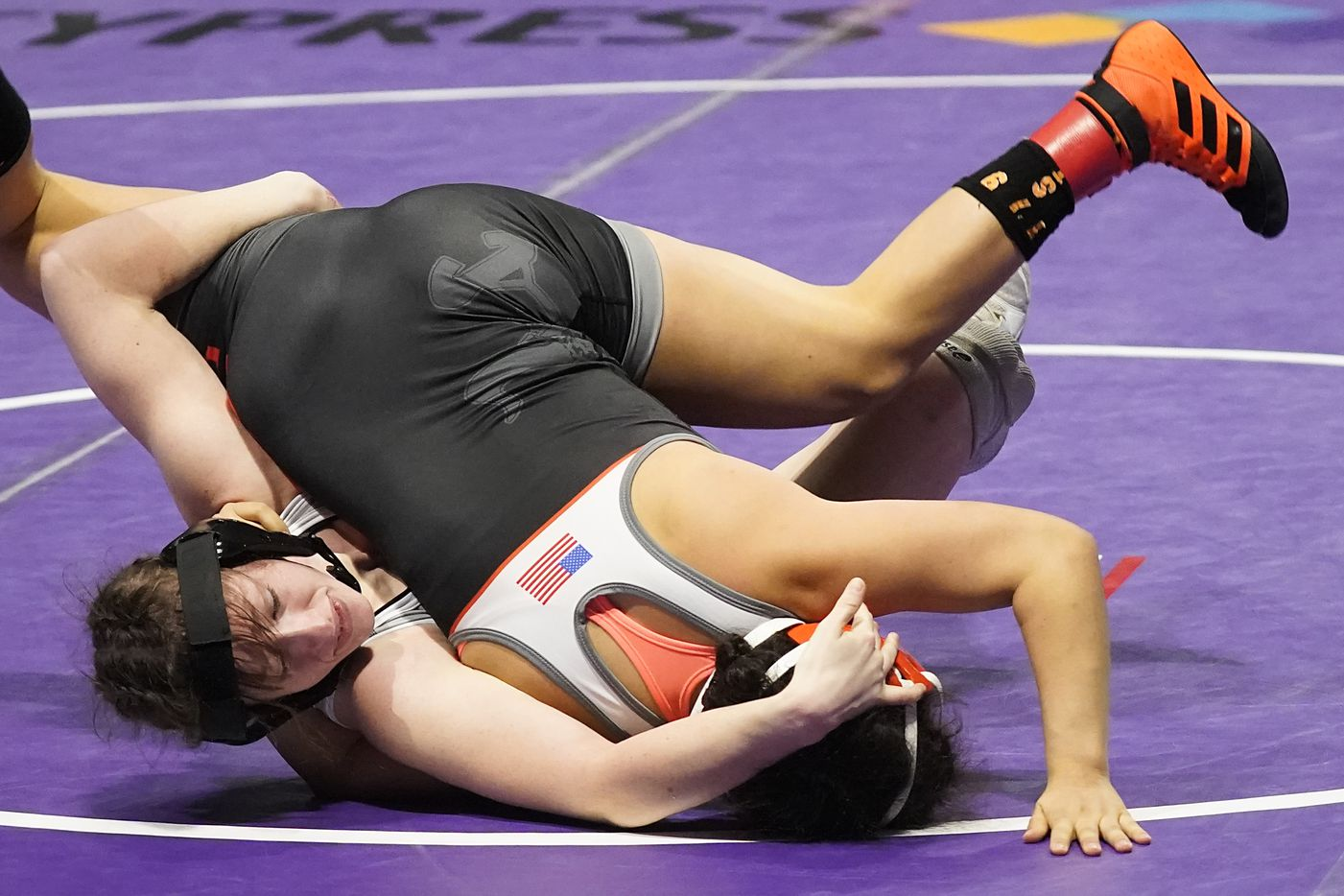 Tabitha Wood of Frisco Independence (left) wrestles Tatiana Garcia of Amarillo Caprock for the 5A girls 119-pound championship during the UIL State Wrestling tournament at the Berry Center on Friday, April 23, 2021, in Cypress, Texas.