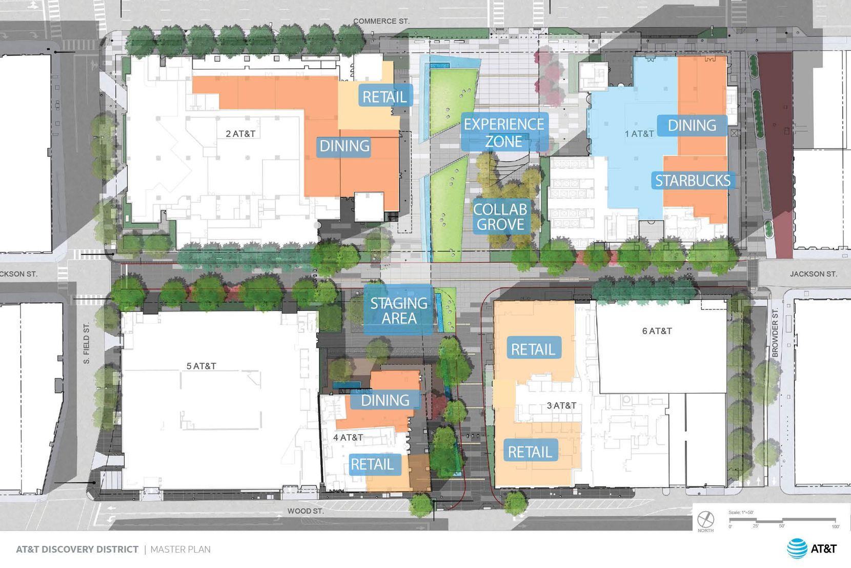 AT&T is spending $100 million to add new features and remodel its 4-building downtown campus.