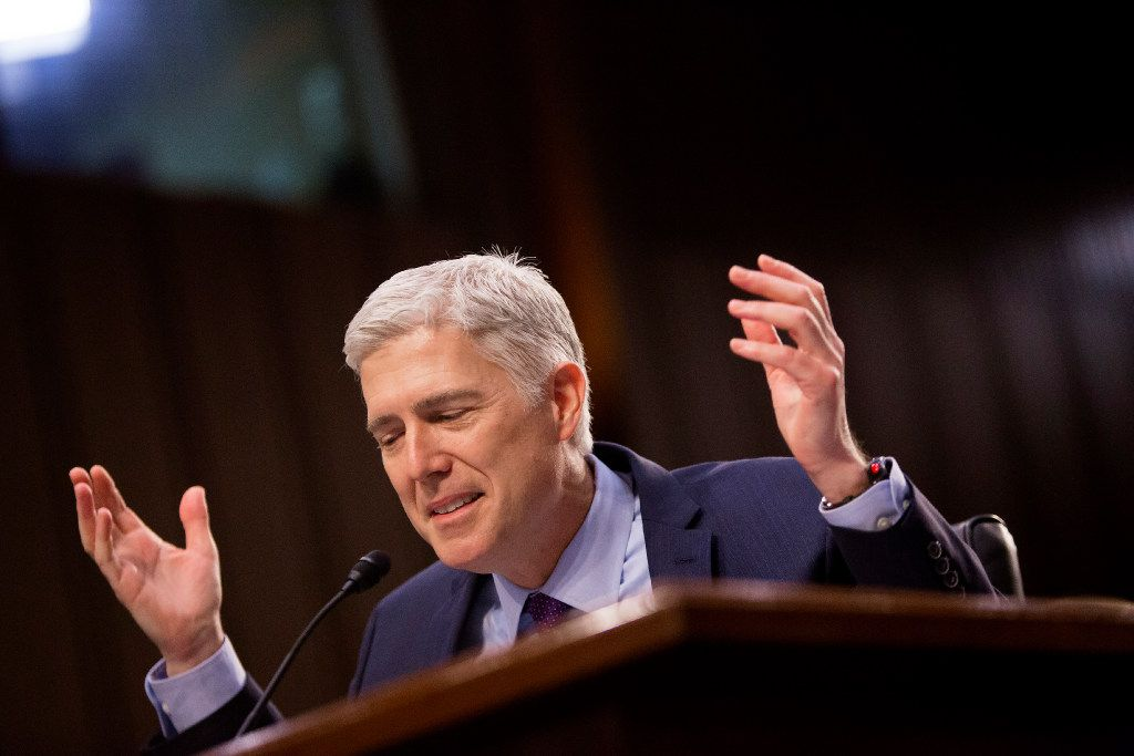 Judge Neil Gorsuch, President Trump's nominee for the Supreme Court, testifies on the second day of his confirmation hearing before the Senate Judiciary Committee on Capitol Hill, in Washington, March 21, 2017. (Eric Thayer/The New York Times)
