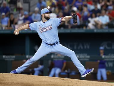 Texas Rangers starting pitcher Jordan Lyles (24) throws against the Kansas City Royals in the fifth inning at Globe Life Field in Arlington, Texas, Friday, June 27, 2021.