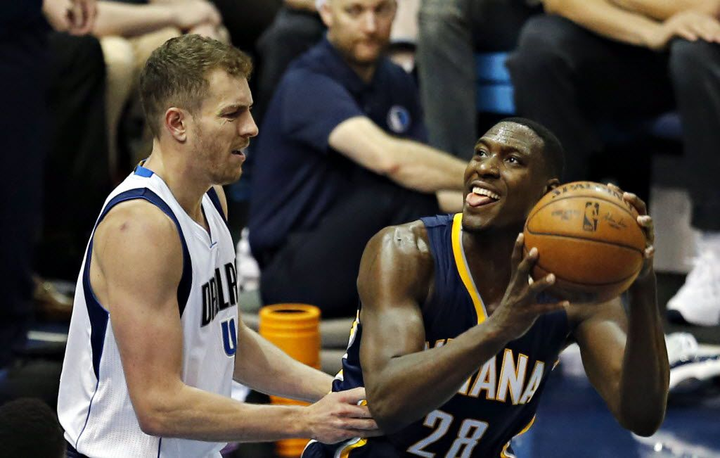 Indiana Pacers center Ian Mahinmi (28) appears to taunt Dallas Mavericks forward David Lee during the second half of Dallas' 112-105 loss Saturday, March 12, 2016 at the American Airlines Center in Dallas. (G.J. McCarthy/The Dallas Morning News)