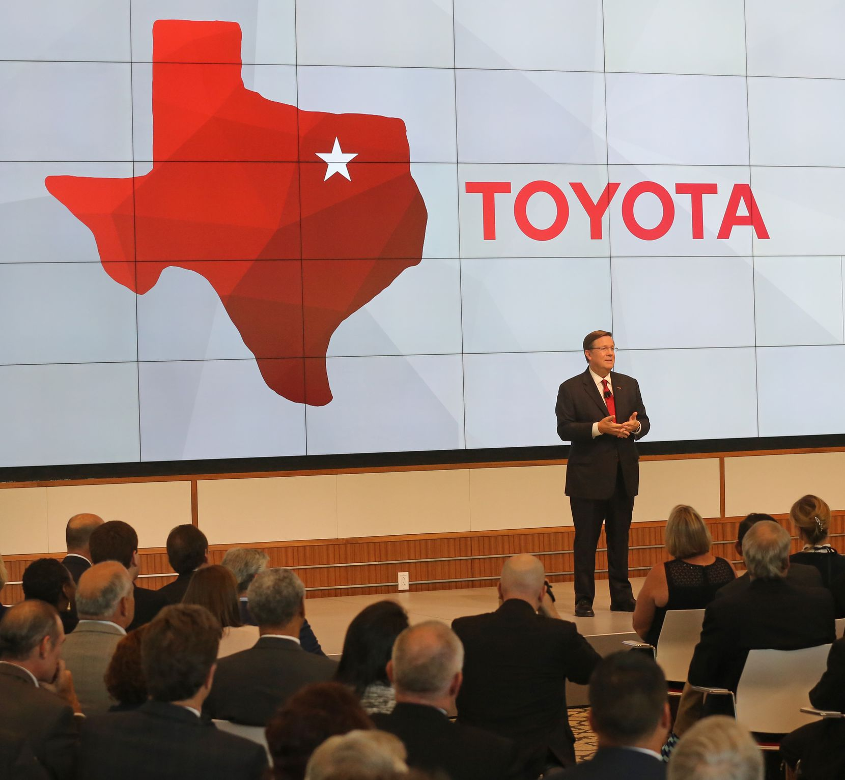 Toyota CEO Jim Lentz talks with the crowd at the grand opening ceremony of the Toyota headquarters in Plano, Texas, photographed on Thursday, July 6, 2017. (Louis DeLuca/The Dallas Morning News)