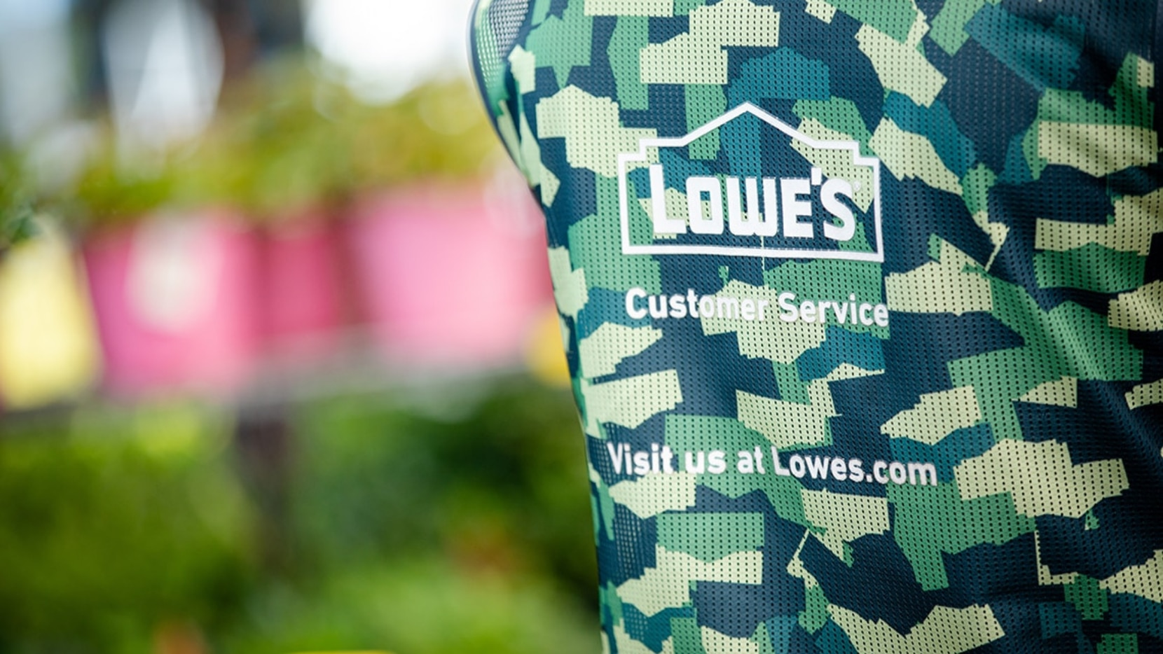 National retailer Lowe's celebrates its military associates and customers in many ways. One gesture is recognizing veteran employees by offering an optional camouflage vest to wear in celebration of their service.