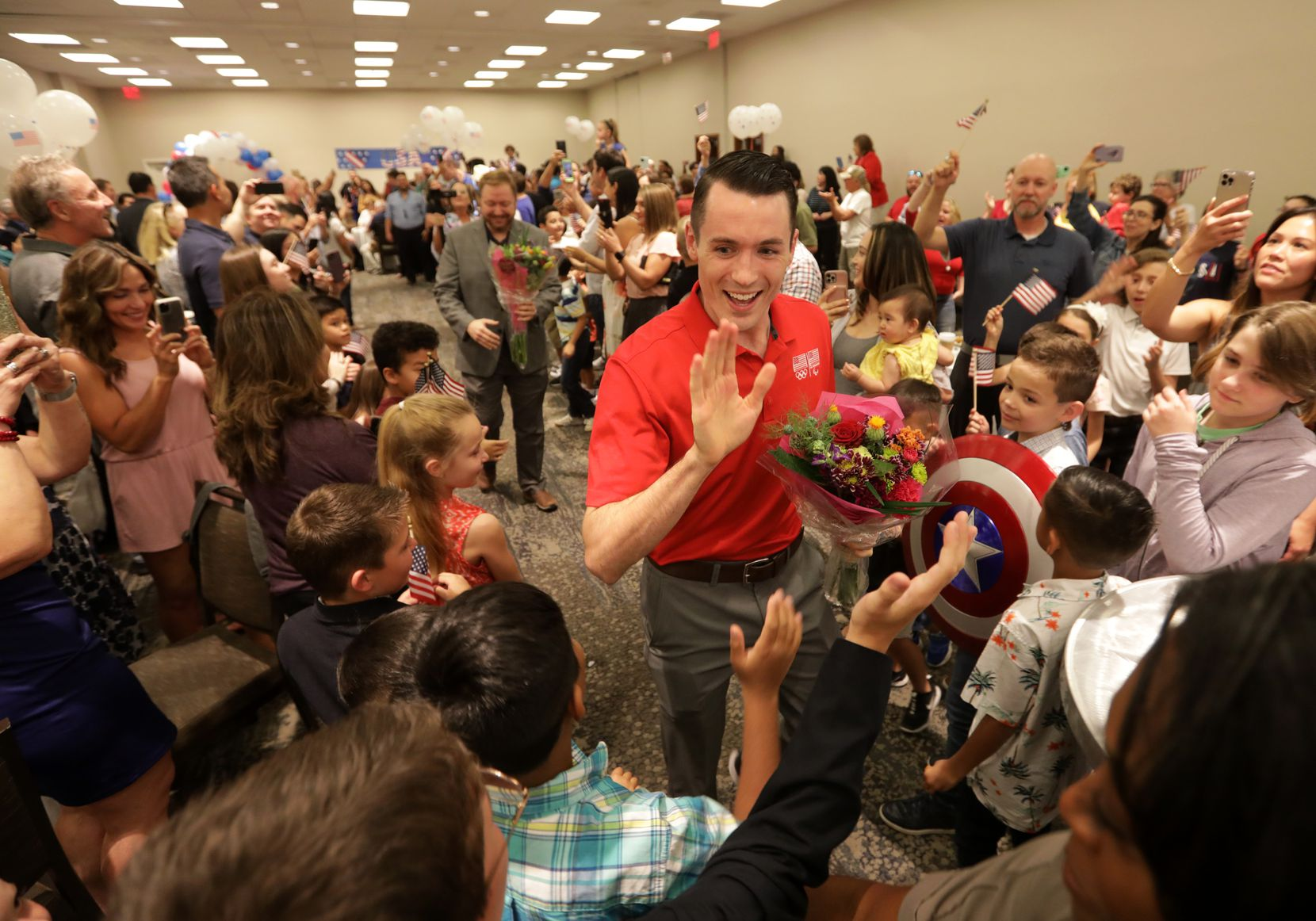 Tom Scott greets supporters during an Olympics sendoff party at The Westin Galleria in Dallas, TX, on Jul. 9, 2021.  (Jason Janik/Special Contributor)