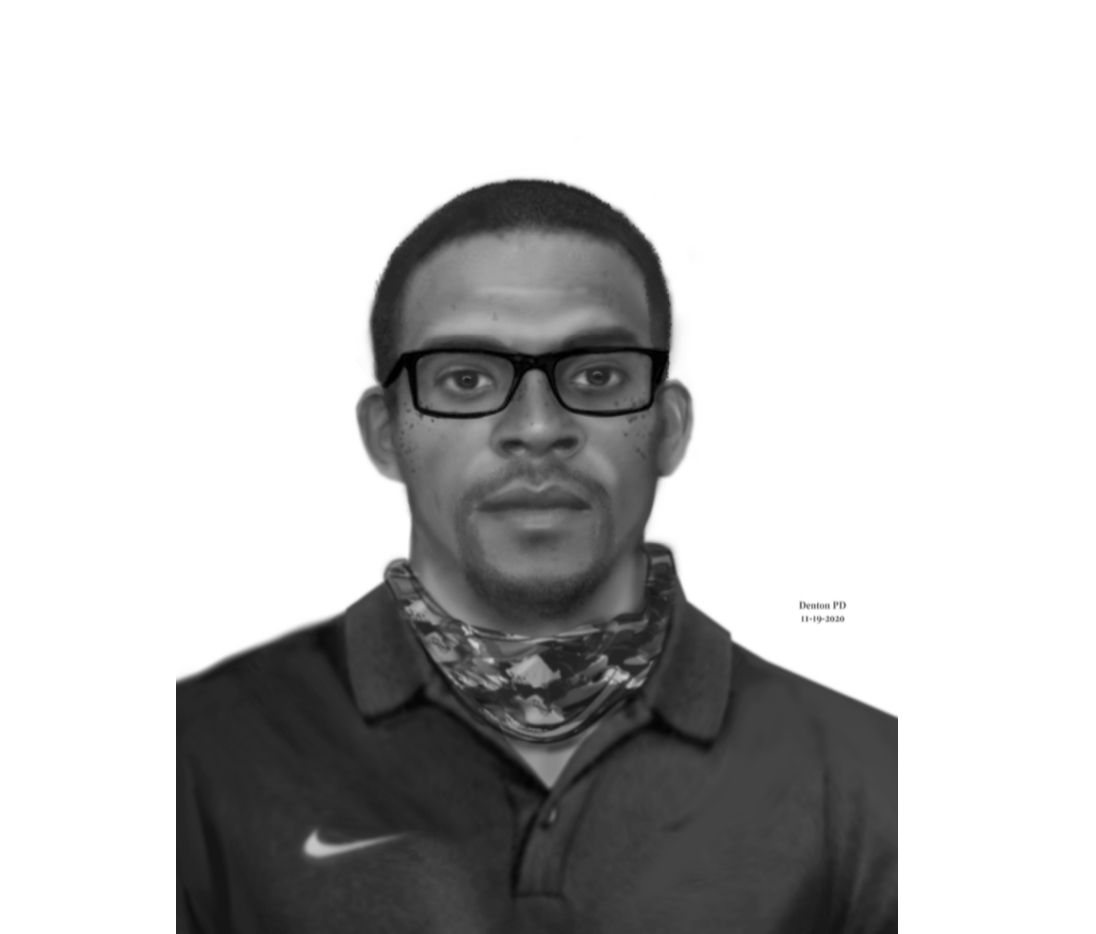 Denton police are asking for the public's help identifying a suspect, pictured here, who they say sexually assaulted a woman on Nov. 11, 2020.