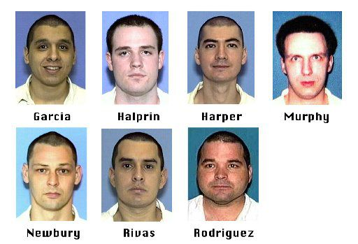 Prison inmates Joseph C. Garcia, Randy  Ethan Halprin, Larry James Harper, Patrick Henry Murphy Jr., Donald Keith Newbury, George Rivas and Michael Anthony Rodriguez escaped Dec. 13, 2000, from the prison near Kenedy. They killed Irving Officer Aubrey Hawkins, 29, during a sporting goods store robbery.