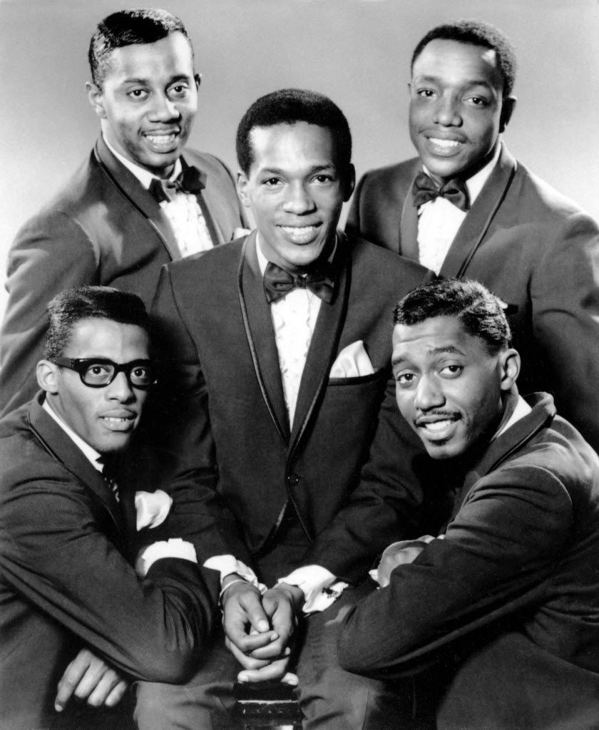 "This 1966 file photo, provided by Gordy Recording Artists, shows ""The Temptations.""  Clockwise from bottom left are David Ruffin, Melvin Franklin, Paul Williams, Otis Williams, and in the center, Eddie Kendricks."