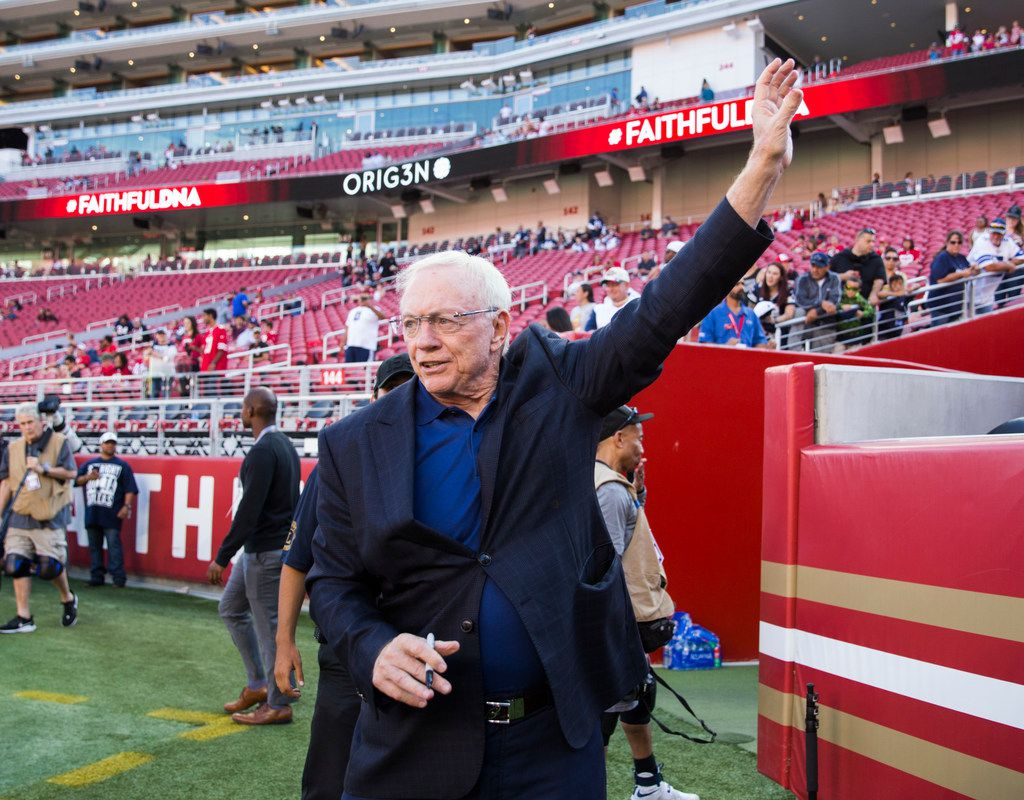 Dallas Cowboys owner Jerry Jones waves to fans before an NFL preseason game between the Dallas Cowboys and the San Francisco 49ers on Saturday, August 10, 2019 at Levi's Stadium in Santa Clara, California. (Ashley Landis/The Dallas Morning News)