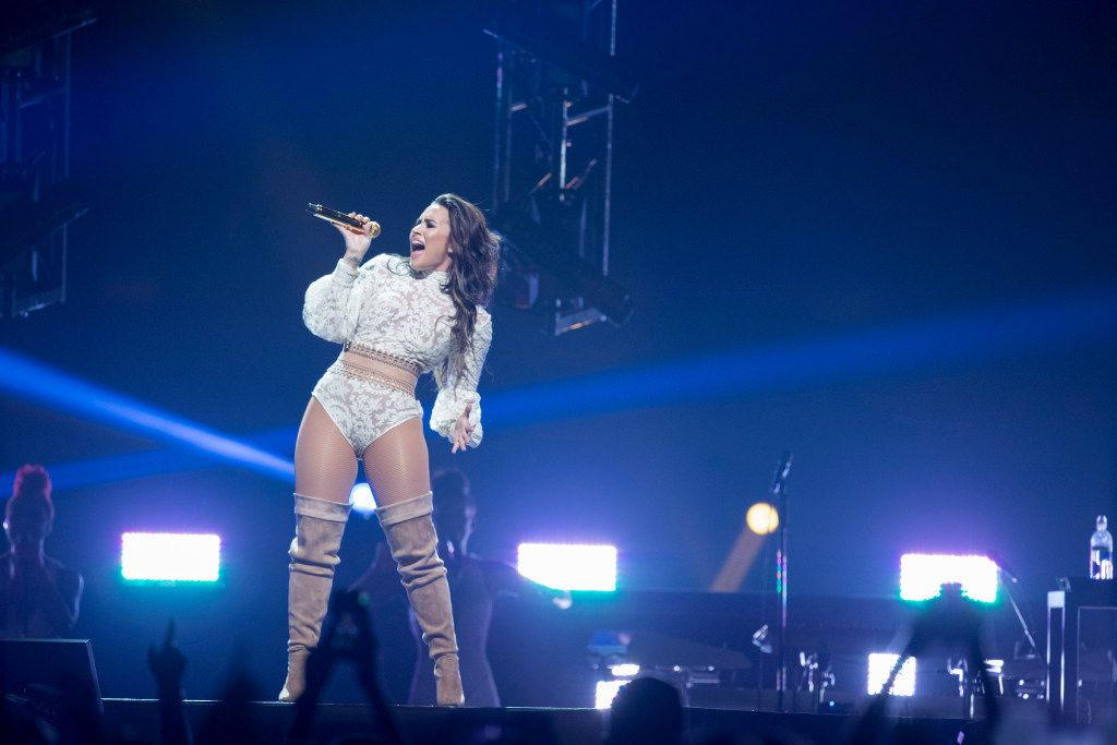Demi Lovato performs on stage during the Future Now Tour at American Airlines Center on Sept. 12, 2016 in Dallas.